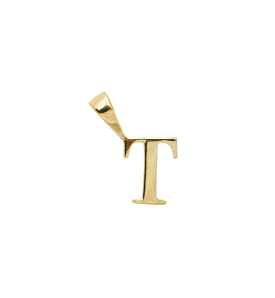 Anna+Nina Vedhæng - Initial Charm T, Goldplated