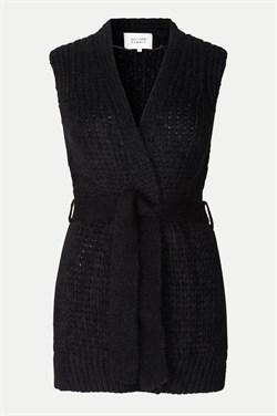 Second Female strikvest - Sonia Knit waistcoat, Black