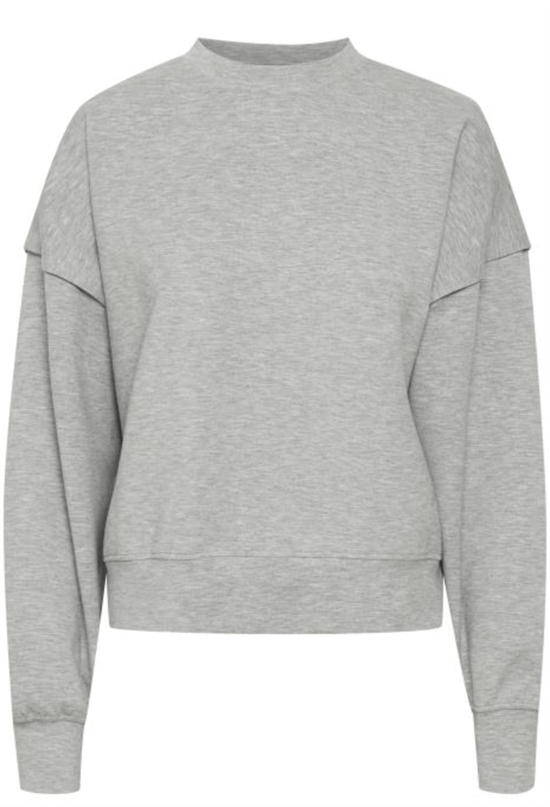 Gestuz Sweat - ChrisdaGZ MEL sweatshirt, Light Grey Melange