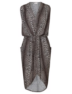 NOTES DU NORD kjole - Dallas Drape Dress, Leopard