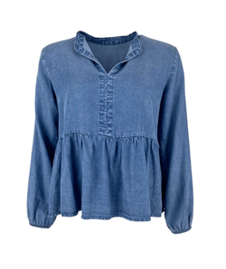 Black Colour Bluse - FRIGG Denim BLOUSE, Denim Blue