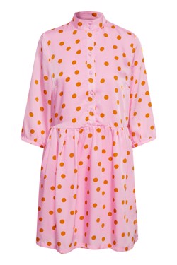 Gestuz Kjole - Elsie dress, Pink Orange Dot