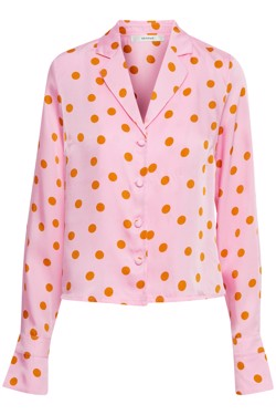 Gestuz Bluse - Elsie  Shirt, Pink Orange Dot