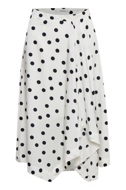 Gestuz Nederdel - Elsie skirt, White Navy Dot