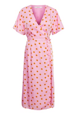 Gestuz Kjole - Elsie Wrap dress, Pink Orange Dot