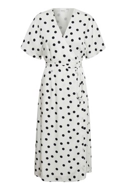Gestuz Kjole - Elsie Wrap dress, White Navy Dot
