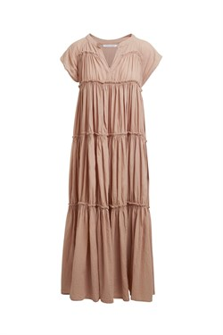 Rabens Saloner Kjole - Gisels Cotton Flare Long Dress, Biscuit