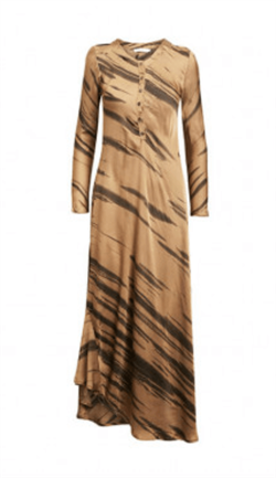 Rabens Saloner Kjole - Noell Wild Stripe Long Dress, Nougat