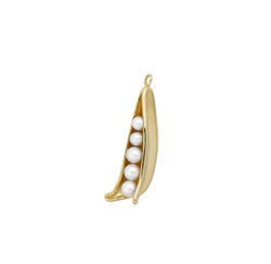 Anna+Nina Vedhæng - Pearly Peapod Earring Charm, Gold plated