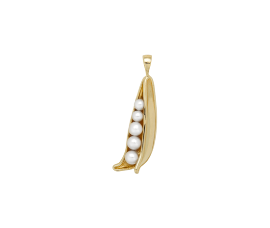Anna+Nina Vedhæng - Pearly Peapod Necklace Charm, Gold plated