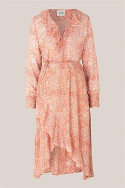 Second Female Kjole - Floral LS Wrap Dress, Apricot Brandy