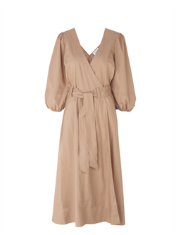 Second Female Kjole - Phoebe Wrap Midi Dress, Praline