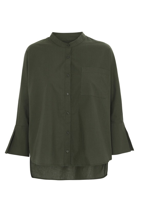 Moshi Moshi Mind Shirt - Note Shirt Crisp, Olive Night