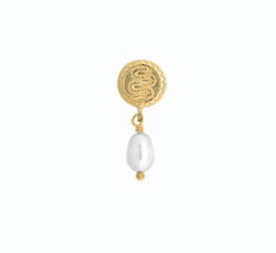 Anna+Nina Ørering - Single Pearl Serpent Earring, Goldplated