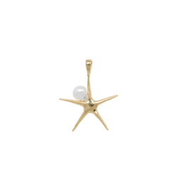 Anna+Nina Vedhæng - Starfish Pearl Necklace Charm, Goldplated