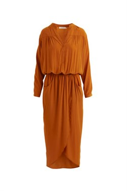Rabens Saloner Kjole - Ebon Light tone wrap Dress, Amber