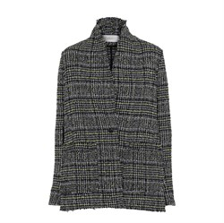 Rabens Saloner - Bell Boucle Check Jacket, Acid Yellow