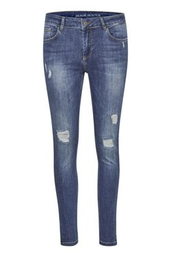 Denim Hunter Jeans - 40 THE CELINAZIP TORN CUSTOM, Medium Blue Vintage Wash