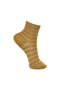 Black Colour Strømper -Beth Stripe Sock, Gold