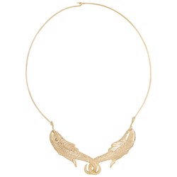 Anna+Nina Halskæde - Fish Choker, Brass Goldplated