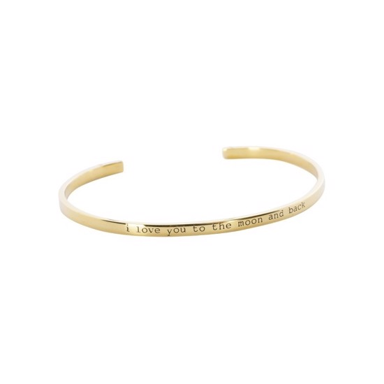 "Anna+Nina Armring - Nina Cuff, ""I Love You to the Moon and Back"", Goldplated"