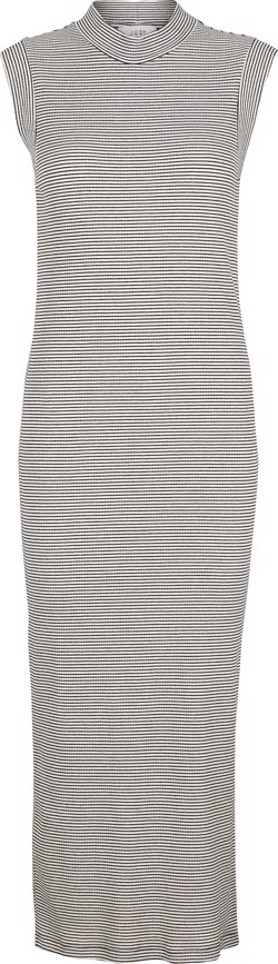 Just Female Kjole -  Luna SL Maxi Dress, Black/White Stripe