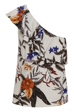 Gestuz Top - Greye One Shoulder, Grey Flower Print