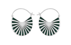 Pernille Corydon Øreringe - Flare Green Earrings, Silver