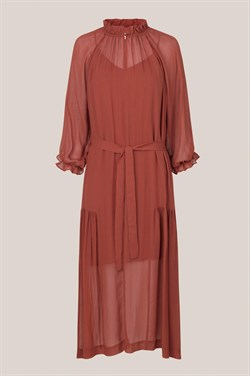 Second Female Kjole - Tul LS Long Dress, Henna