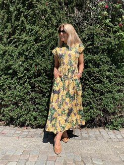 Gestuz Kjole - CassiaGZ Midi¾Dress, Yellow Flower Gar