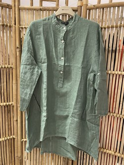 Black Colour Skjorte, Tilly Linen Shirt, Olive