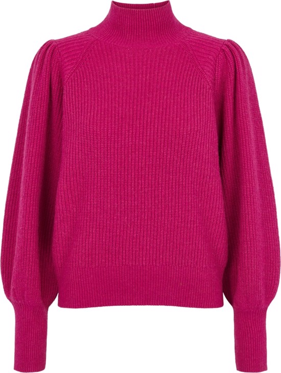 Second Female strik - Venia knit t-neck, Fuchsia Red